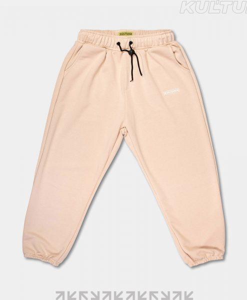 Трикотажные брюки OverSize, бежевый (front)