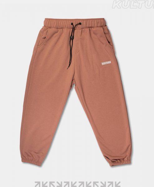 Трикотажные брюки OverSize, коричневый (front)