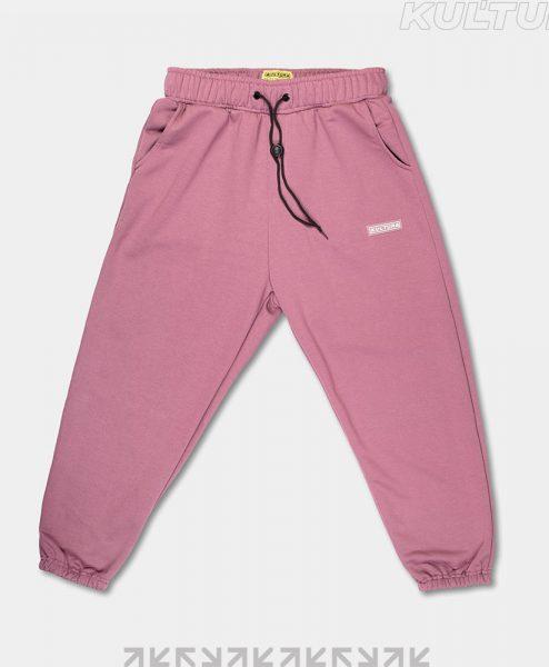 Трикотажные брюки OverSize, марсала (front)